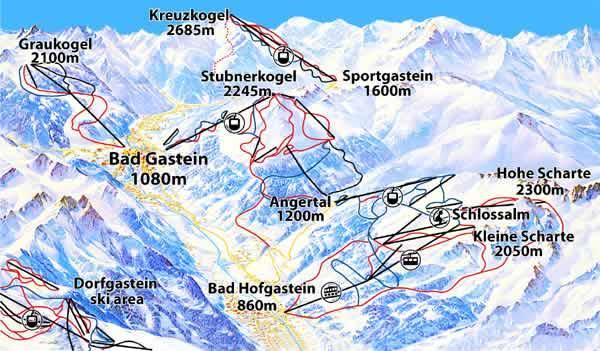 Схема трасс горнолыжного курорта Бад-Гаштайн-Штубнеркогель-Шлоссальм