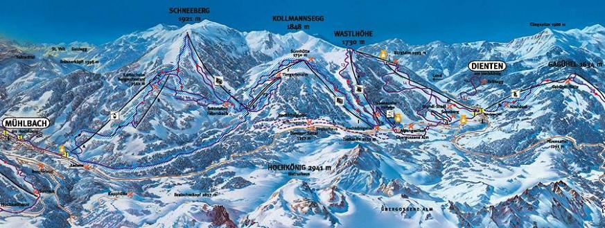 Схема трасс горнолыжного курорта Хохкёниг