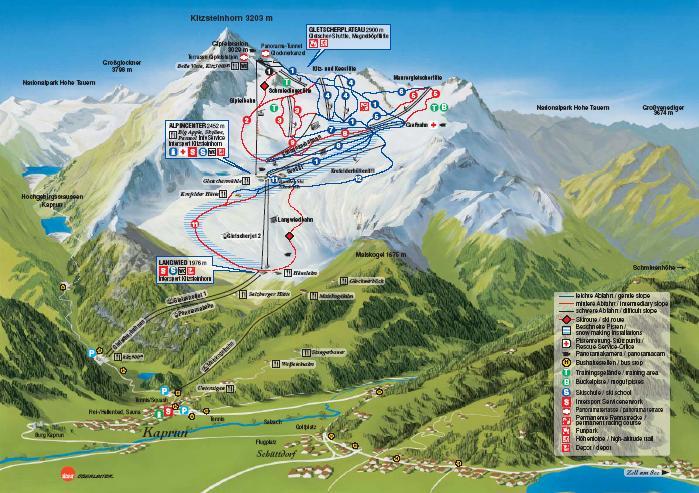 Схема трасс горнолыжного курорта Капрун-Китцштайнхорн