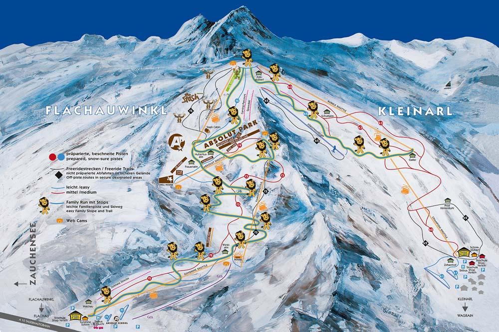 Схема трасс горнолыжного курорта Клайнарль-Шутльберг