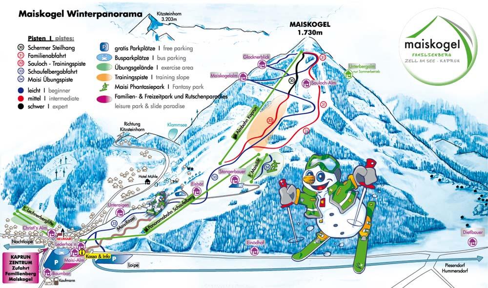 Схема трасс горнолыжного курорта Майскогель-Капрун