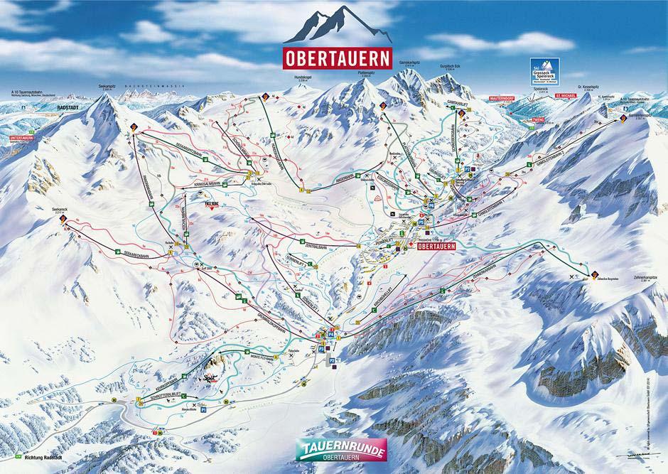 Схема трасс горнолыжного курорта Обертауэрн