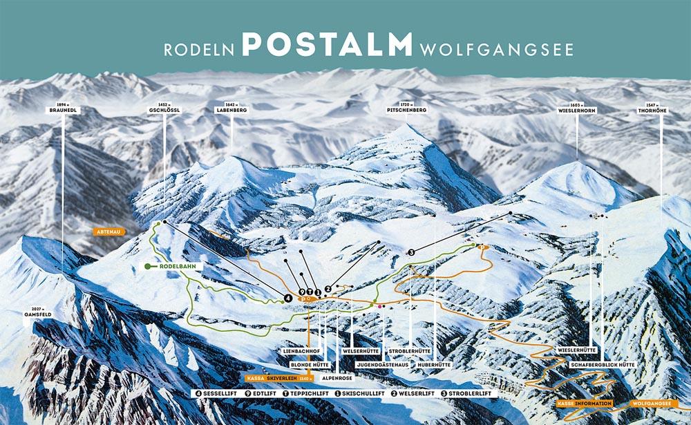 Схема трасс горнолыжного курорта Постальм