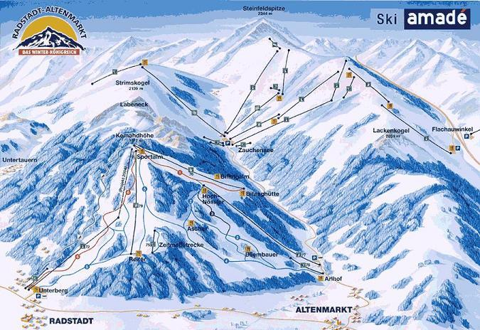 Схема трасс горнолыжного курорта Радштадт-Альтенмаркт
