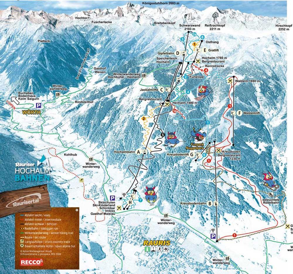 Схема трасс горнолыжного курорта Раурис