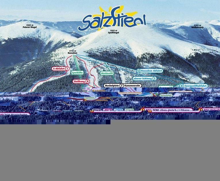 Схема трасс горнолыжного курорта Зальцштигль