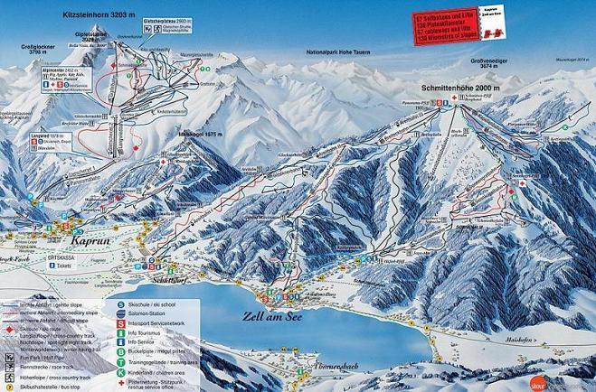 Схема трасс горнолыжного курорта Целль-Ам-Зее-Шмиттенхох