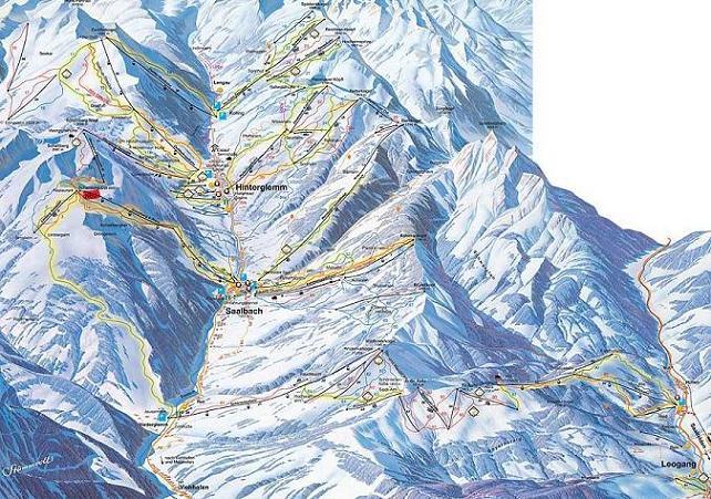 Схема трасс горнолыжного курорта Заальбах-Хинтерглемм-Леоганг
