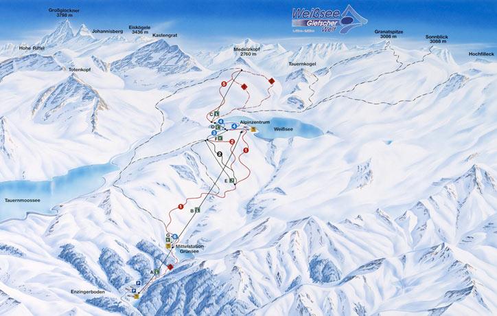 Схема трасс горнолыжного курорта Ледник-Вайсзее-Уттендорф