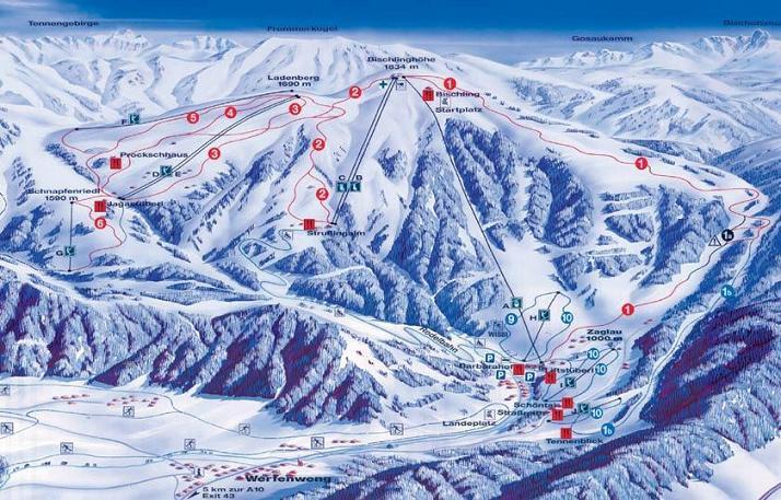 Схема трасс горнолыжного курорта Верфенвенге
