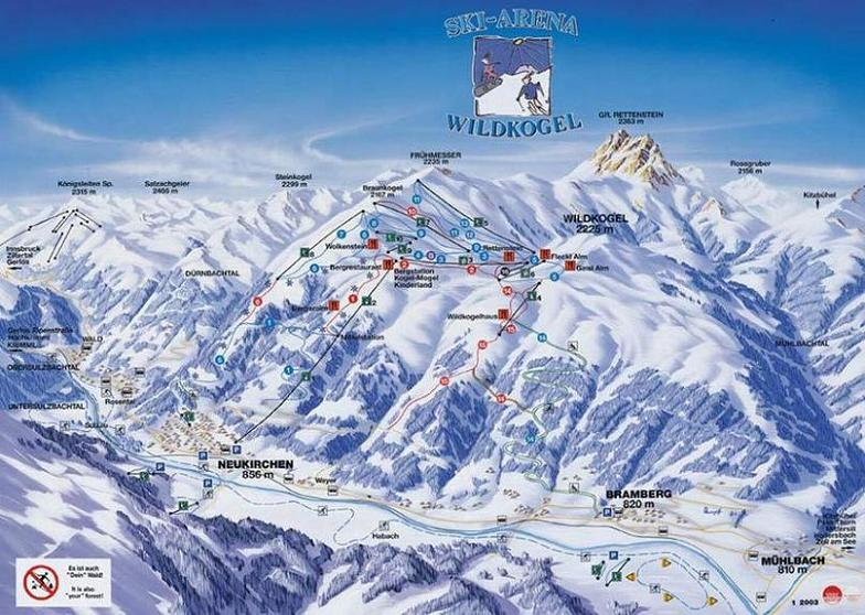 Схема трасс горнолыжного курорта Арена-Вильдкогель