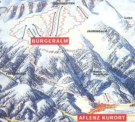 Схема трасс горнолыжного курорта Мариязеллер-Бергеральп