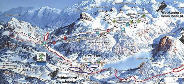 Схема трасс горнолыжного курорта Лозер-Сандлинг-Альтаусзее