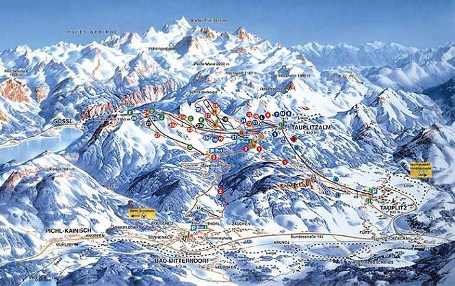 Схема трасс горнолыжного курорта Тауплиц-Альм
