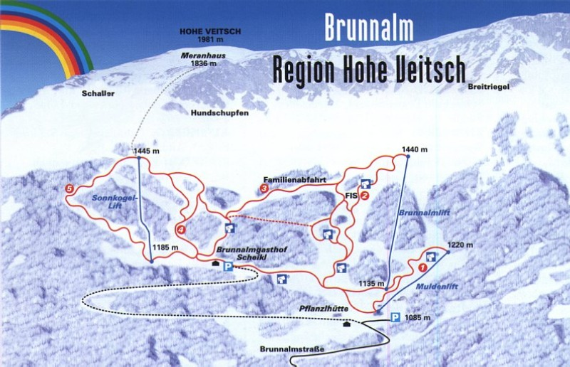Схема трасс горнолыжного курорта Вейч-Бруннальм