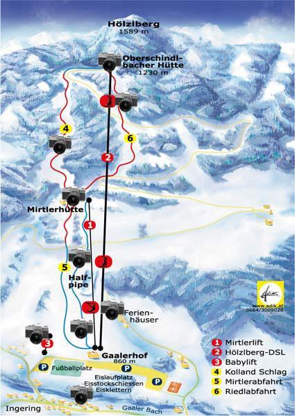 Схема трасс горнолыжного курорта Галер-Лифт