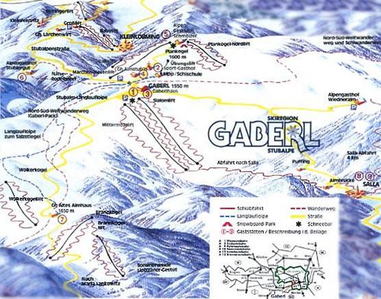 Схема трасс горнолыжного курорта Габерль-Штубальп