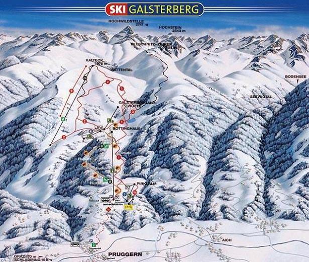 Схема трасс горнолыжного курорта Галштербергальм