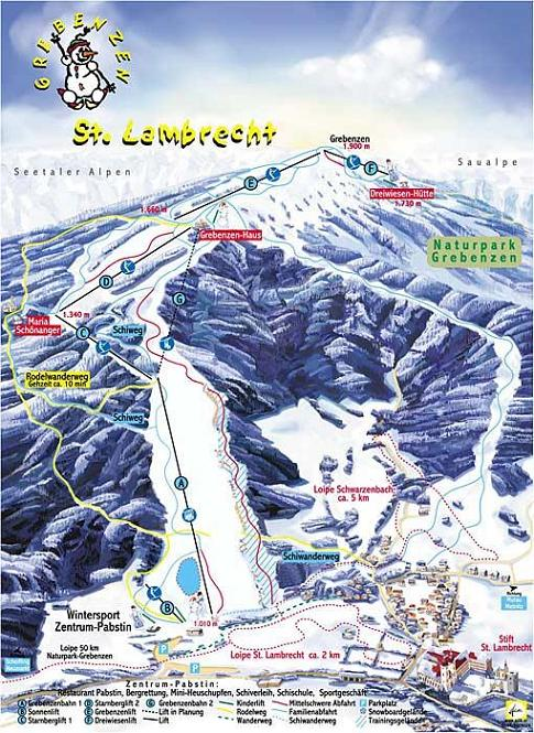 Схема трасс горнолыжного курорта Гребенцен-Страмбрехт