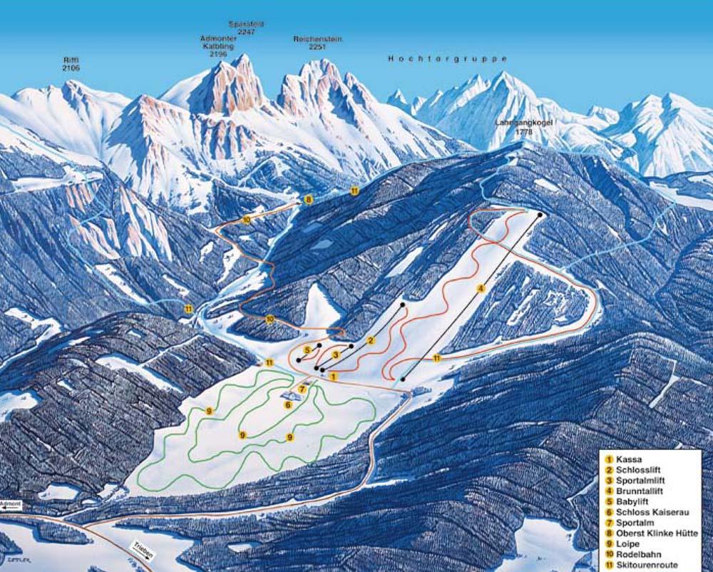 Схема трасс горнолыжного курорта Кайзерау
