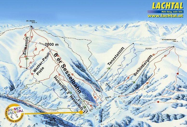 Схема трасс горнолыжного курорта Лахтале