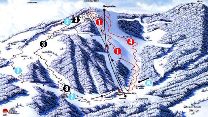 Схема трасс горнолыжного курорта Скиарена-Ламмеральм