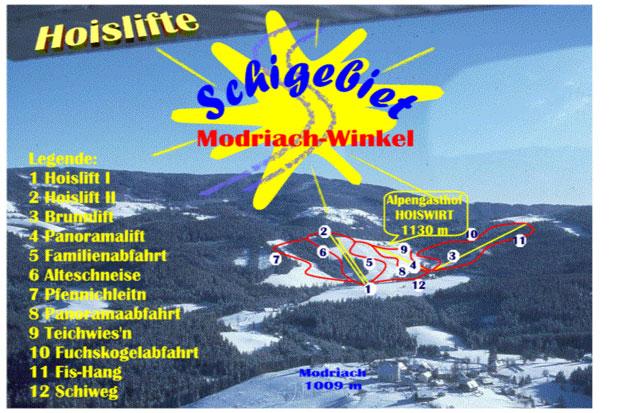 Схема трасс горнолыжного курорта Модрах-Винкель-Хойслифт