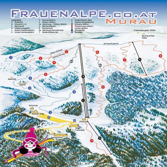 Схема трасс горнолыжного курорта Фрауэнальпе