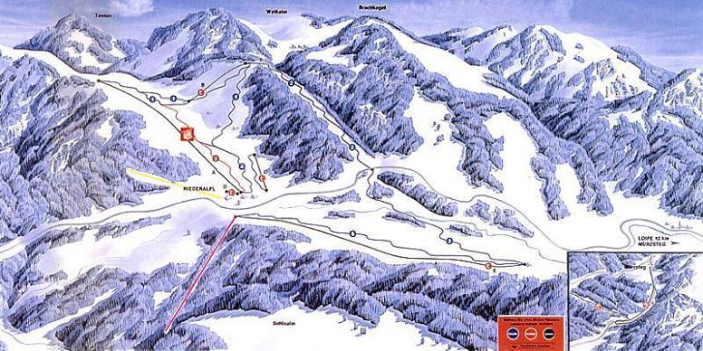 Схема трасс горнолыжного курорта Нидеральп