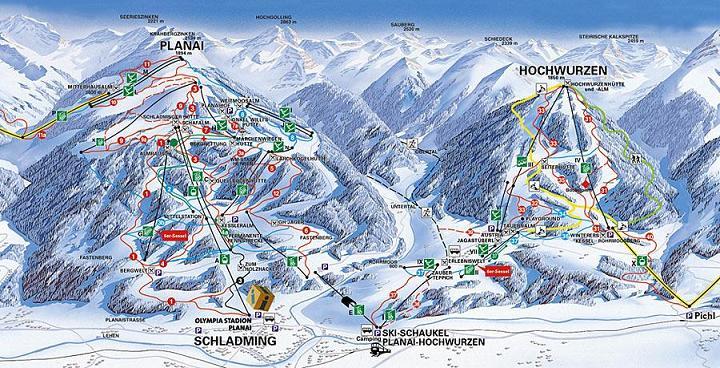 Схема трасс горнолыжного курорта Шладминг-Планай-Хохвурцен