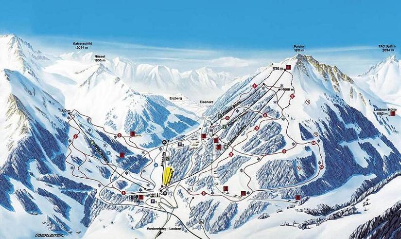 Схема трасс горнолыжного курорта Прабихль