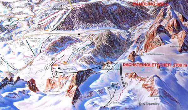 Схема трасс горнолыжного курорта Рамзау-Ам-Дахштайн