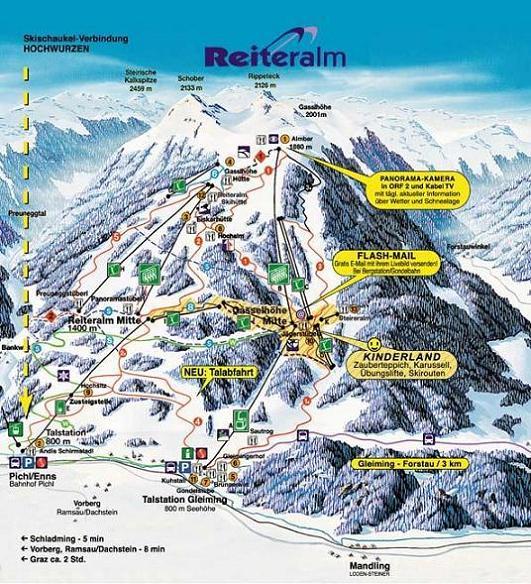Схема трасс горнолыжного курорта Райтеральм-Пихль-Мандлинг