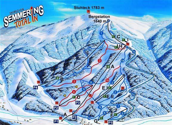 Схема трасс горнолыжного курорта Штулек-Земмеринг