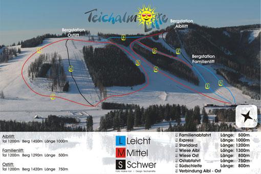 Схема трасс горнолыжного курорта Тейчамлифте