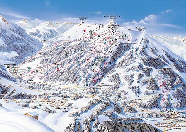 Схема трасс горнолыжного курорта Альпбах-Ски-Джувель-Альпбахталь-Вильдшенау