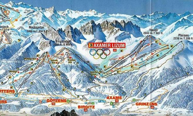 Схема трасс горнолыжного курорта Аксамер-Лизум