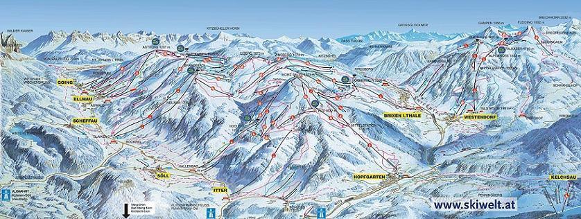 Схема трасс горнолыжного курорта Бриксен-Им-Тале