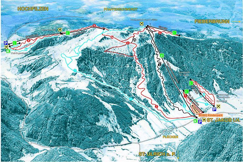 Схема трасс горнолыжного курорта Бученстейнванд