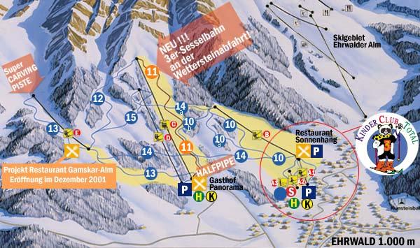 Схема трасс горнолыжного курорта Виттерштайнбахен-Эрвальд