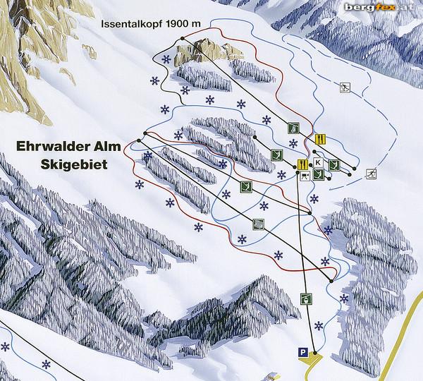 Схема трасс горнолыжного курорта Эрвальдер-Алм