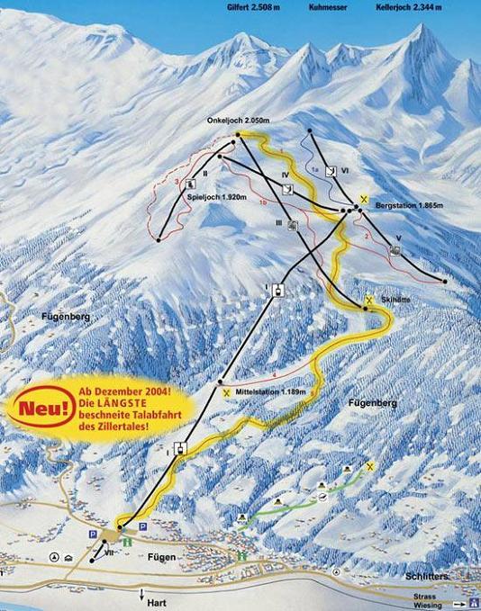 Схема трасс горнолыжного курорта Фюген-Шпильйох