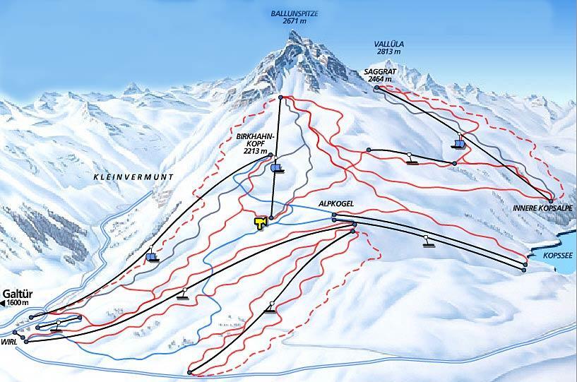 Схема трасс горнолыжного курорта Галтюр-Сильвретта