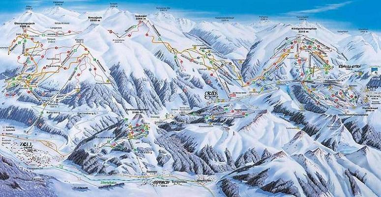 Схема трасс горнолыжного курорта Герлос-Циллерталь-Арена
