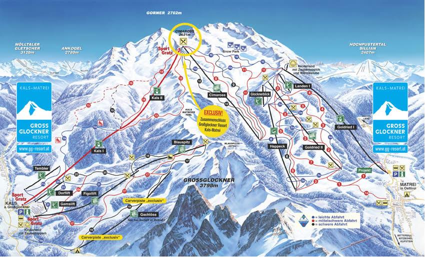 Схема трасс горнолыжного курорта Гроссглокнер-Курорт Кальс-Матрай