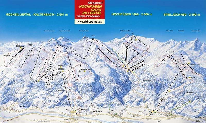 Схема трасс горнолыжного курорта Хохциллерталь-Хохфюген