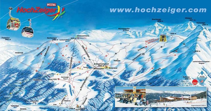 Схема трасс горнолыжного курорта Хохцайгер