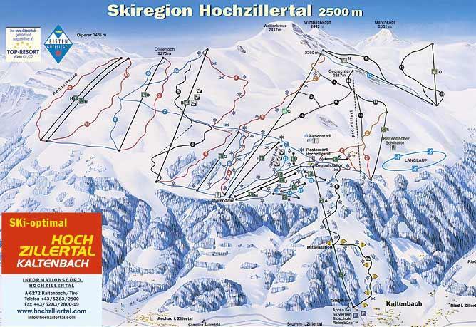 Схема трасс горнолыжного курорта Хохциллерталь