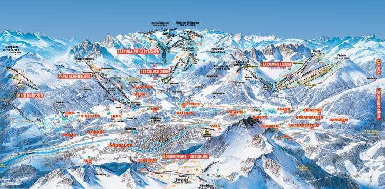 Схема трасс горнолыжного курорта Инсбруккер-Нордкеттенбанен