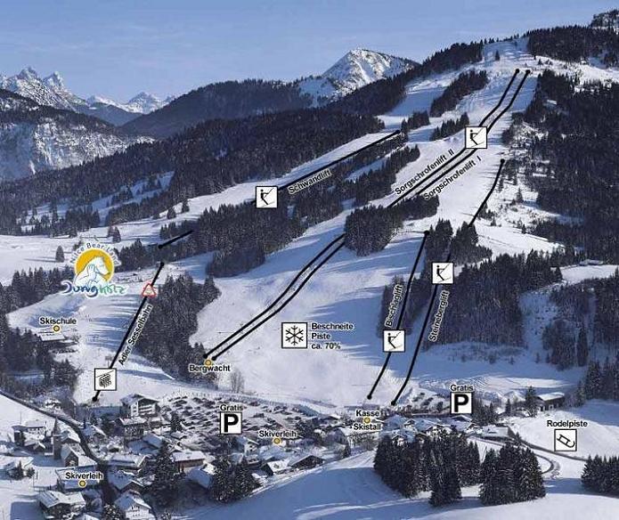 Схема трасс горнолыжного курорта Юнгхольц